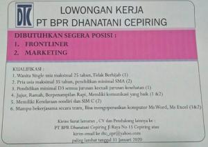 Lowongan Kerja Frontliner dan Marketing di BPR Dhanatani Cepiring