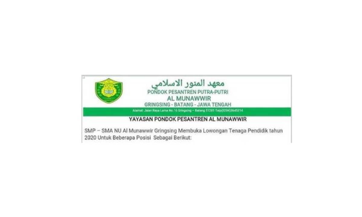 Lowongan Kerja Admin dan Guru di Yayasan Ponpes Al Munawwir Gringsing